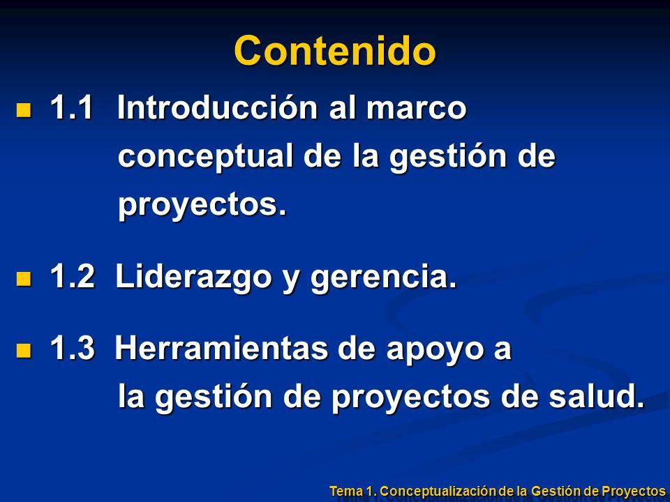 Contenido 1.1 Introducción al marco 1.1 Introducción al marco conceptual de la gestión de conceptual de la gestión de proyectos. proyectos. 1.2 Lidera