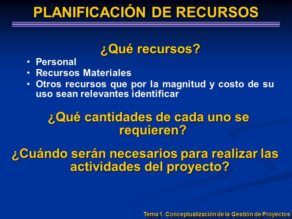 PLANIFICACIÓN DE RECURSOS ¿Qué recursos? Personal Recursos Materiales Otros recursos que por la magnitud y costo de su uso sean relevantes identificar