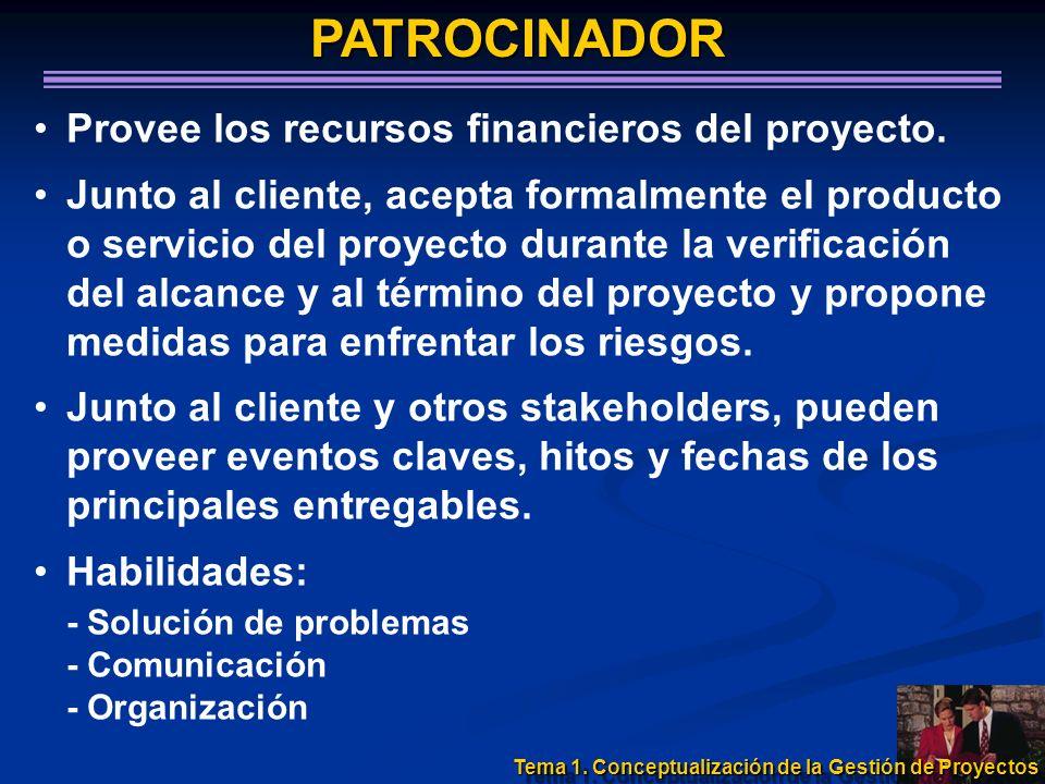 PATROCINADOR Provee los recursos financieros del proyecto. Junto al cliente, acepta formalmente el producto o servicio del proyecto durante la verific