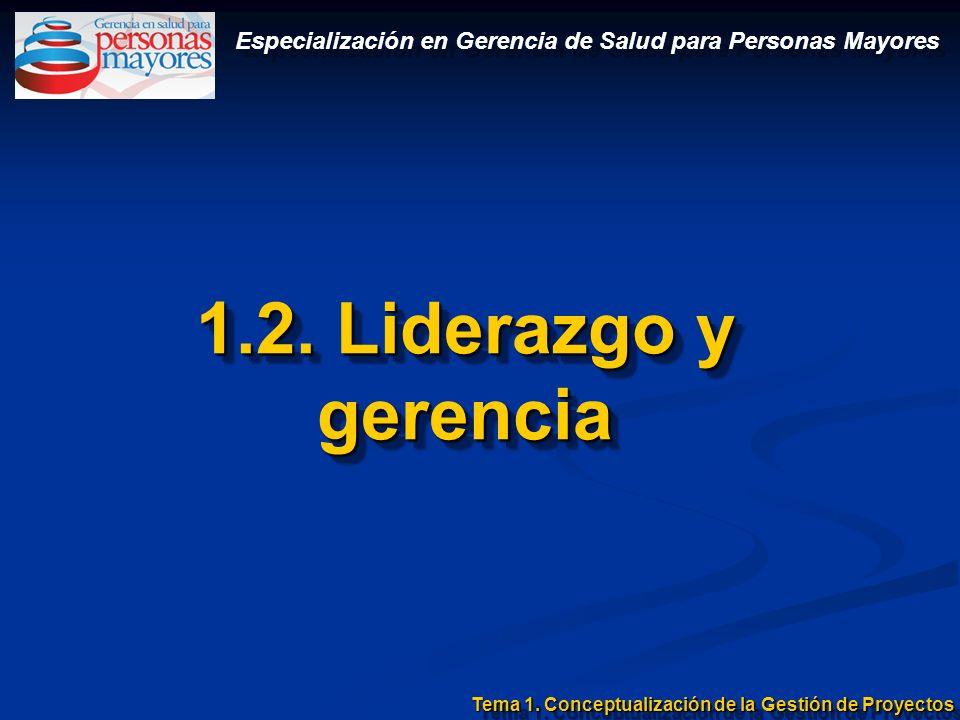 1.2. Liderazgo y gerencia Tema 1. Conceptualización de la Gestión de Proyectos Especialización en Gerencia de Salud para Personas Mayores