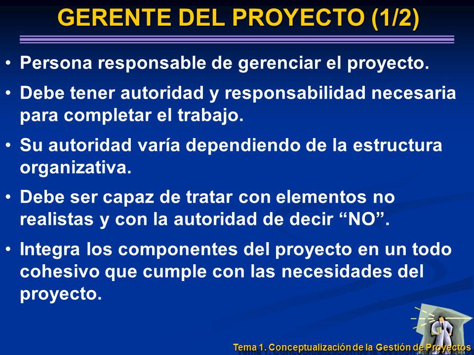 GERENTE DEL PROYECTO (1/2) Persona responsable de gerenciar el proyecto. Debe tener autoridad y responsabilidad necesaria para completar el trabajo. S