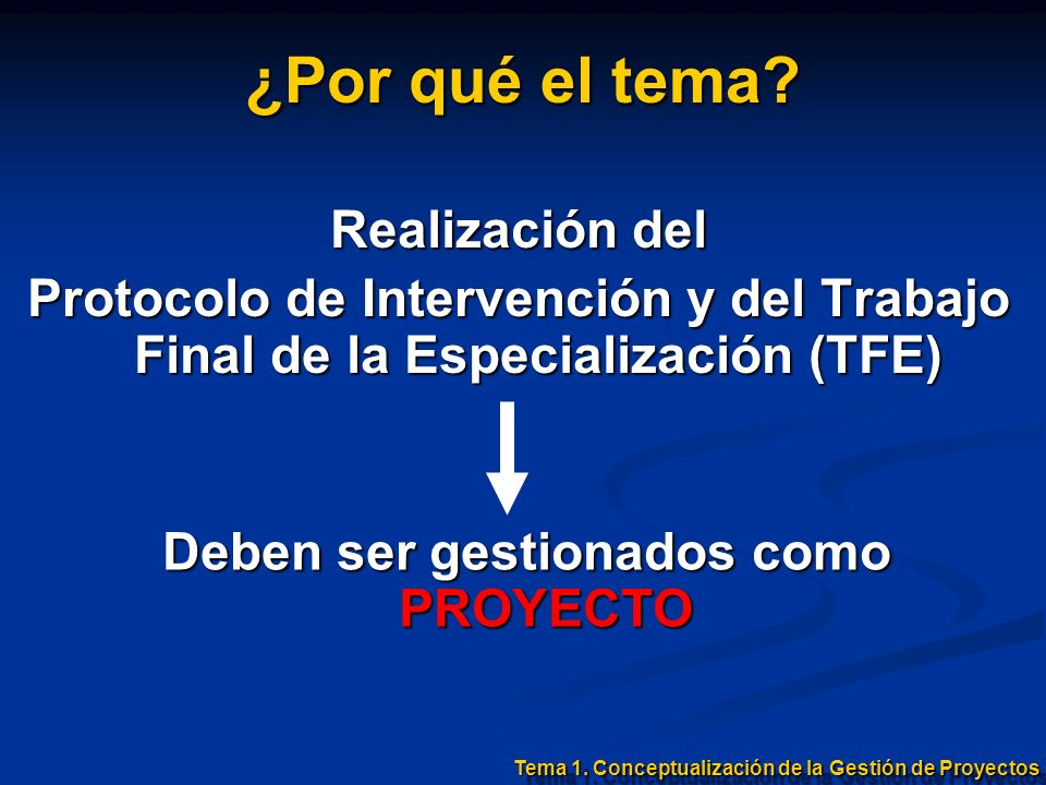 Realización del Protocolo de Intervención y del Trabajo Final de la Especialización (TFE) ¿Por qué el tema? Deben ser gestionados como PROYECTO Tema 1