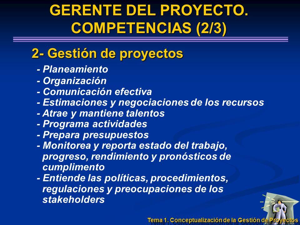 2- Gestión de proyectos 2- Gestión de proyectos - Planeamiento - Organización - Comunicación efectiva - Estimaciones y negociaciones de los recursos -