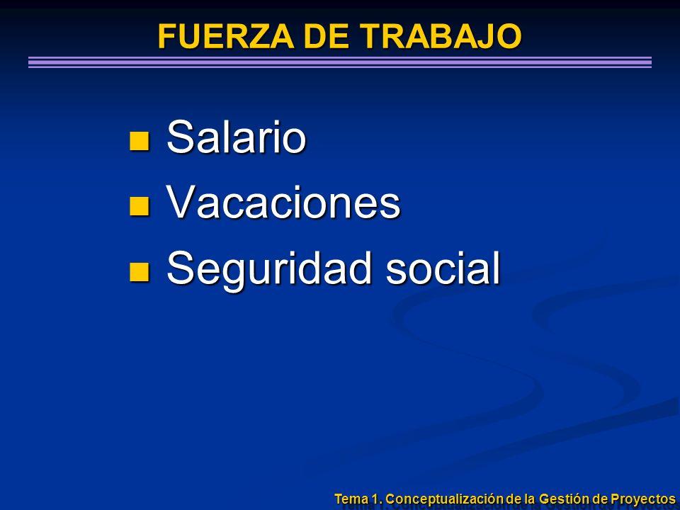Salario Salario Vacaciones Vacaciones Seguridad social Seguridad social Tema 1. Conceptualización de la Gestión de Proyectos FUERZA DE TRABAJO