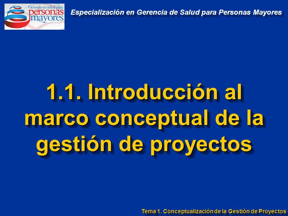 1.1. Introducción al marco conceptual de la gestión de proyectos Tema 1. Conceptualización de la Gestión de Proyectos Especialización en Gerencia de S