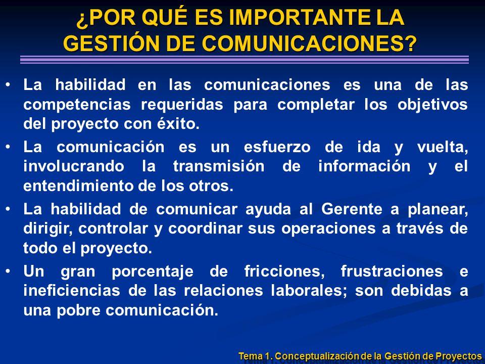 La habilidad en las comunicaciones es una de las competencias requeridas para completar los objetivos del proyecto con éxito. La comunicación es un es