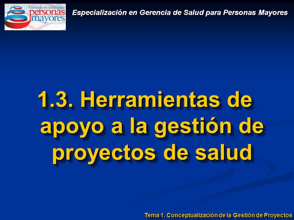 1.3. Herramientas de apoyo a la gestión de proyectos de salud Tema 1. Conceptualización de la Gestión de Proyectos Especialización en Gerencia de Salu