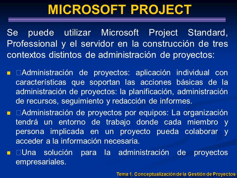 Tema 1. Conceptualización de la Gestión de Proyectos MICROSOFT PROJECT MICROSOFT PROJECT Se puede utilizar Microsoft Project Standard, Professional y