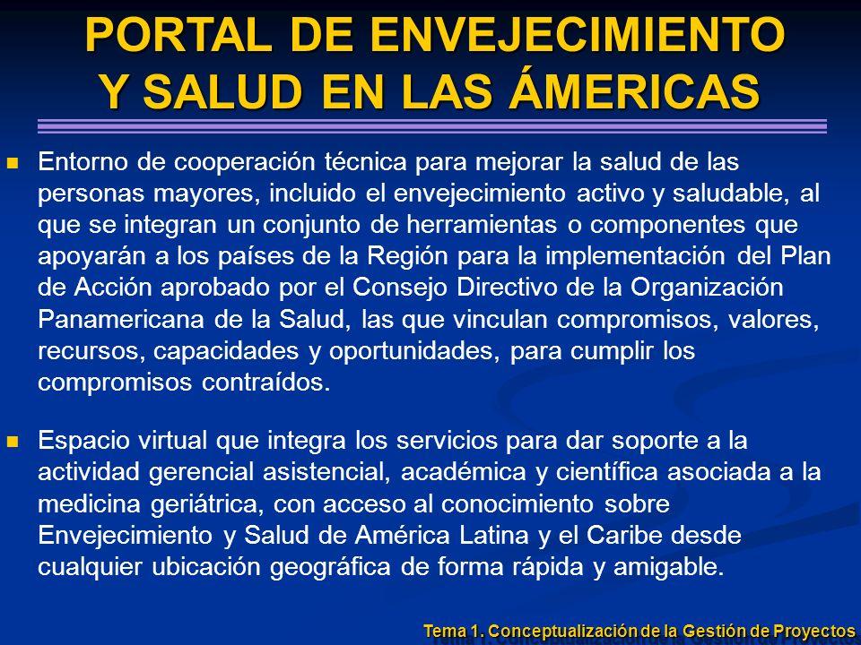 Tema 1. Conceptualización de la Gestión de Proyectos PORTAL DE ENVEJECIMIENTO PORTAL DE ENVEJECIMIENTO Y SALUD EN LAS ÁMERICAS Entorno de cooperación