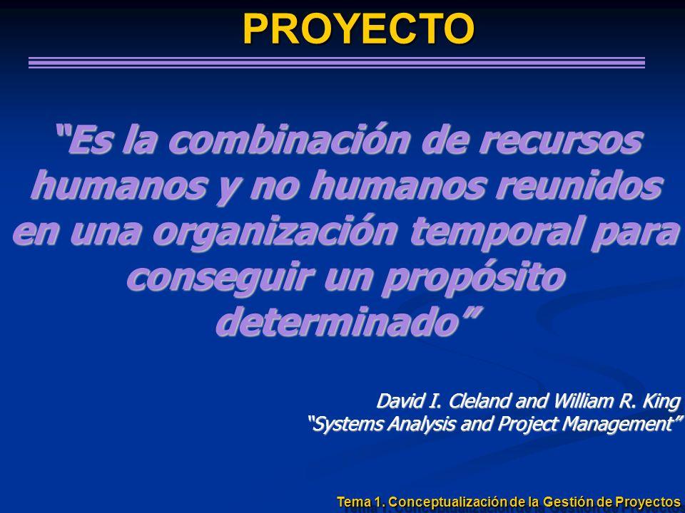 PROYECTO Es la combinación de recursos humanos y no humanos reunidos en una organización temporal para conseguir un propósito determinado David I. Cle