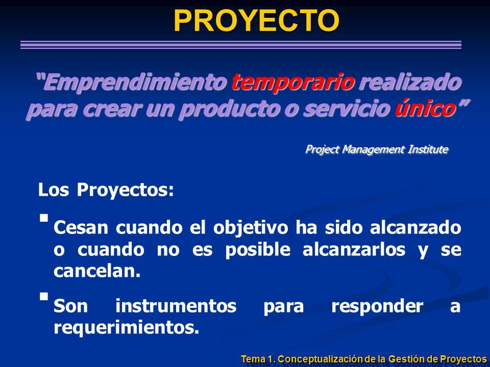 Emprendimiento temporario realizado para crear un producto o servicio único Project Management Institute Project Management Institute Los Proyectos: C