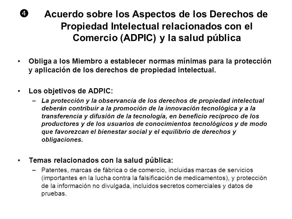 Acuerdo sobre los Aspectos de los Derechos de Propiedad Intelectual relacionados con el Comercio (ADPIC) y la salud pública Obliga a los Miembro a est