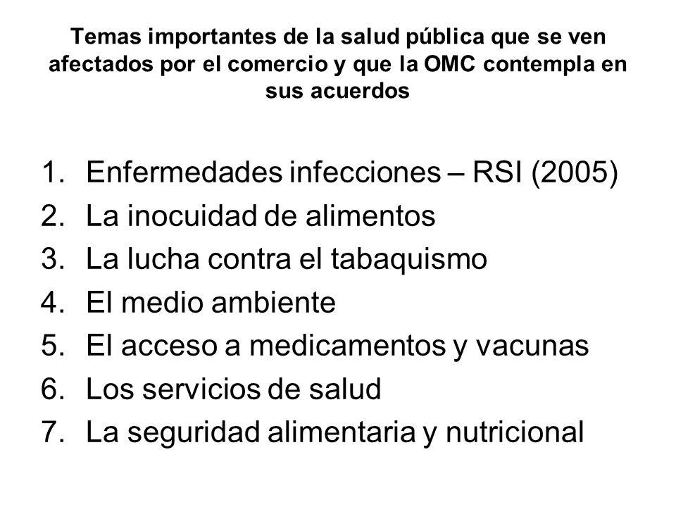 Temas importantes de la salud pública que se ven afectados por el comercio y que la OMC contempla en sus acuerdos 1.Enfermedades infecciones – RSI (20