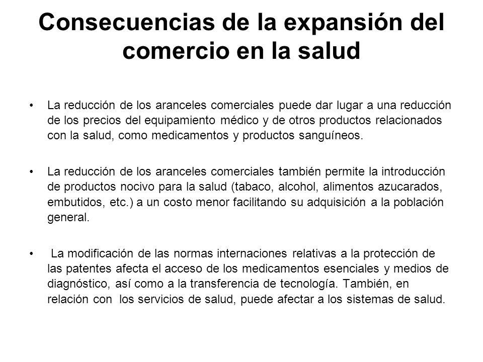 Consecuencias de la expansión del comercio en la salud La reducción de los aranceles comerciales puede dar lugar a una reducción de los precios del eq
