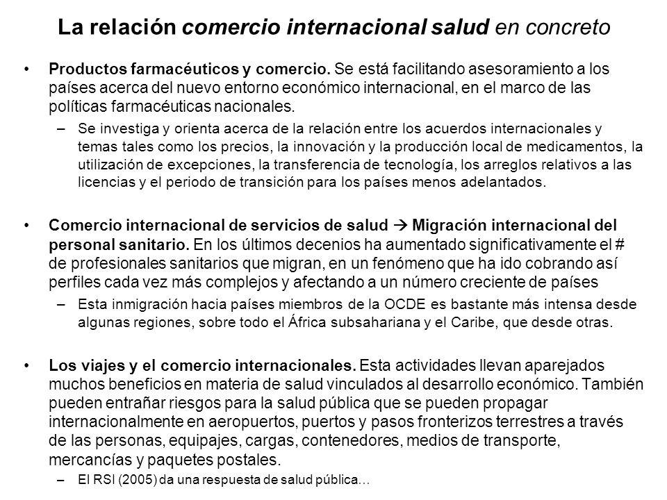 La relación comercio internacional salud en concreto Productos farmacéuticos y comercio. Se está facilitando asesoramiento a los países acerca del nue