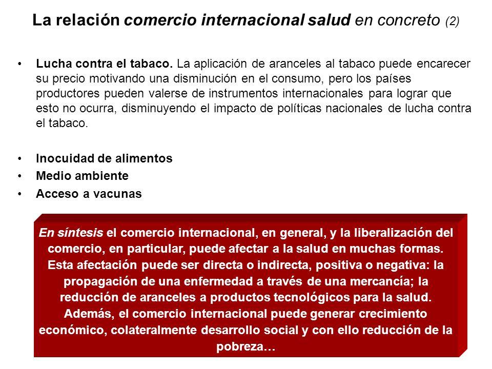 La relación comercio internacional salud en concreto (2) Lucha contra el tabaco. La aplicación de aranceles al tabaco puede encarecer su precio motiva