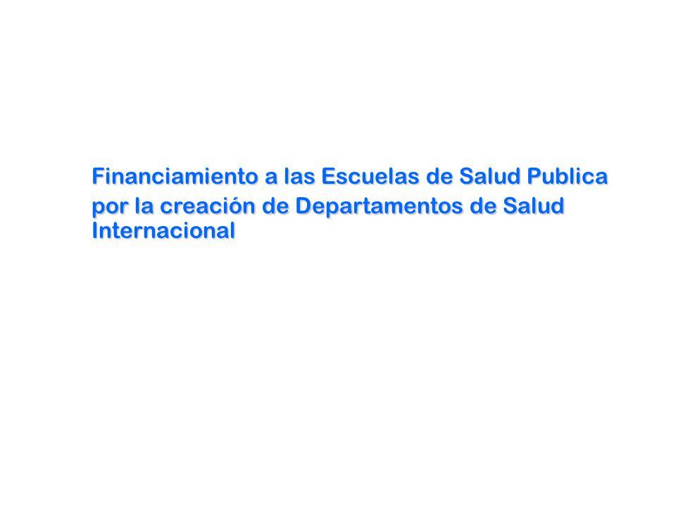 Financiamiento a las Escuelas de Salud Publica por la creación de Departamentos de Salud Internacional
