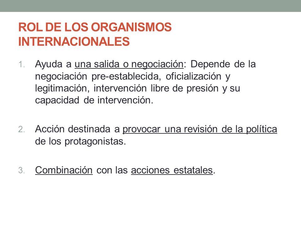 ROL DE LOS ORGANISMOS INTERNACIONALES 1. Ayuda a una salida o negociación: Depende de la negociación pre-establecida, oficialización y legitimación, i