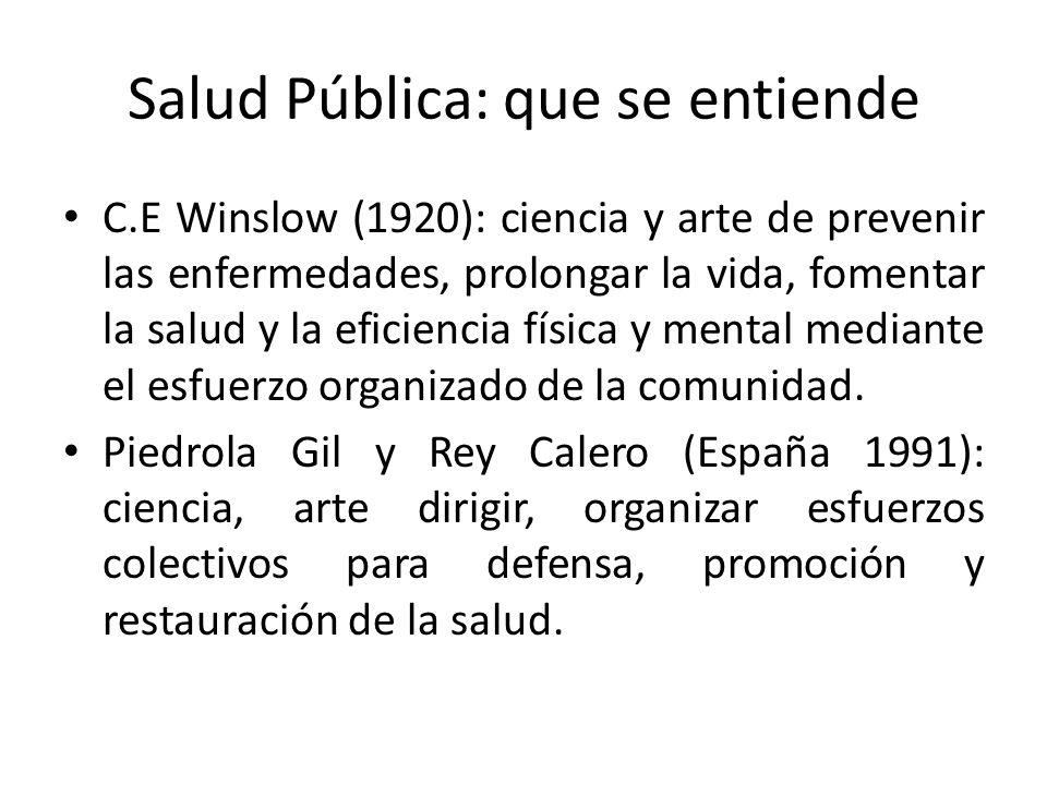 Salud Pública: que se entiende C.E Winslow (1920): ciencia y arte de prevenir las enfermedades, prolongar la vida, fomentar la salud y la eficiencia f