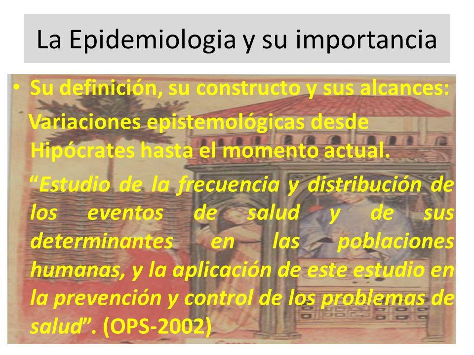 La Epidemiologia y su importancia Su definición, su constructo y sus alcances: Variaciones epistemológicas desde Hipócrates hasta el momento actual. E