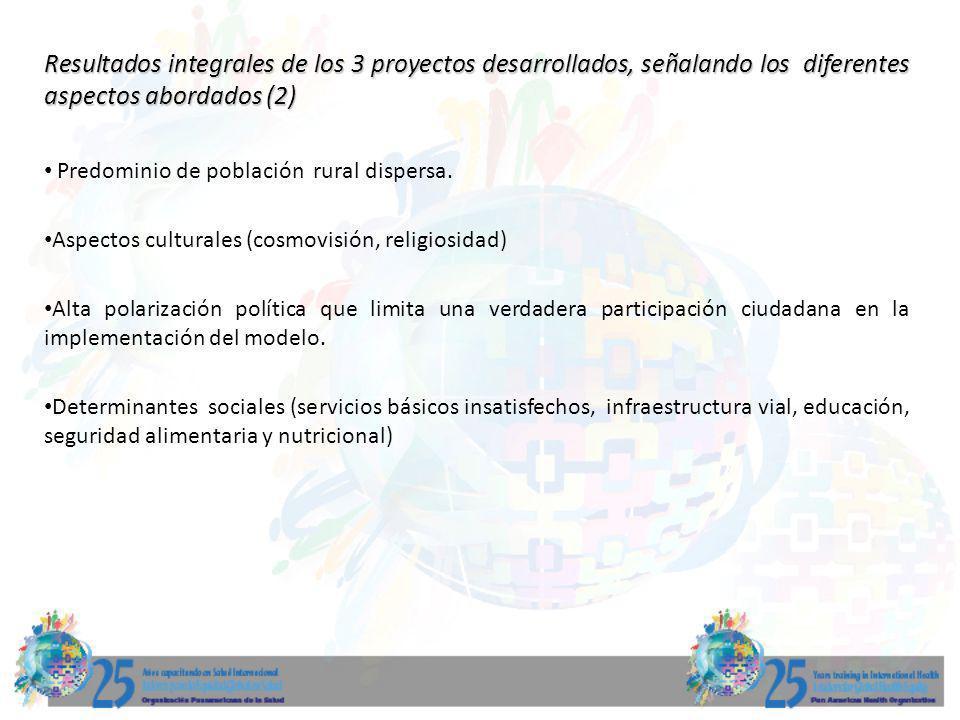 Resultados integrales de los 3 proyectos desarrollados, señalando los diferentes aspectos abordados (2) Predominio de población rural dispersa. Aspect