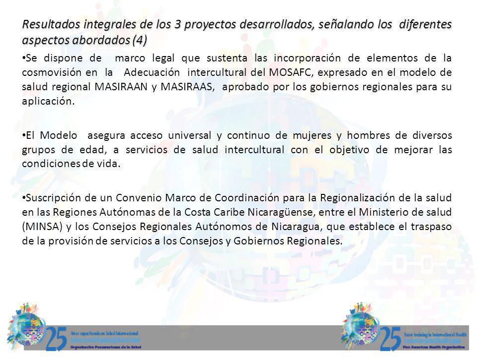 Resultados integrales de los 3 proyectos desarrollados, señalando los diferentes aspectos abordados (4) Se dispone de marco legal que sustenta las inc