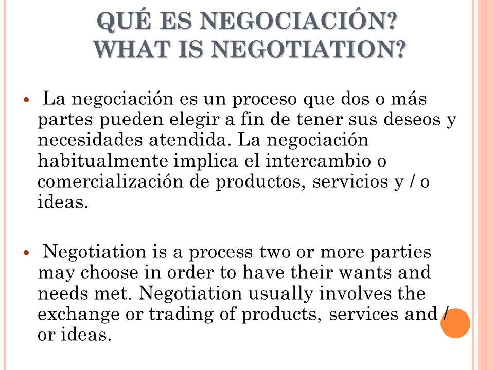 QUÉ ES NEGOCIACIÓN? WHAT IS NEGOTIATION? La negociación es un proceso que dos o más partes pueden elegir a fin de tener sus deseos y necesidades atend