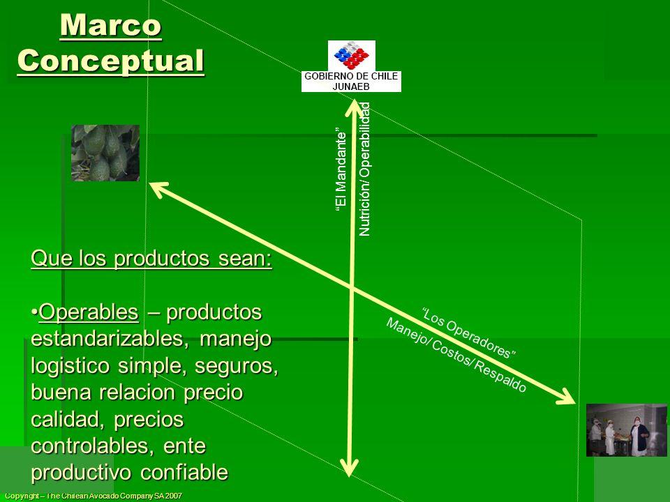 Copyright – The Chilean Avocado Company SA 2007 El Mandante Nutrición/ Operabilidad Marco Conceptual Los Operadores Manejo/ Costos/ Respaldo Que los p