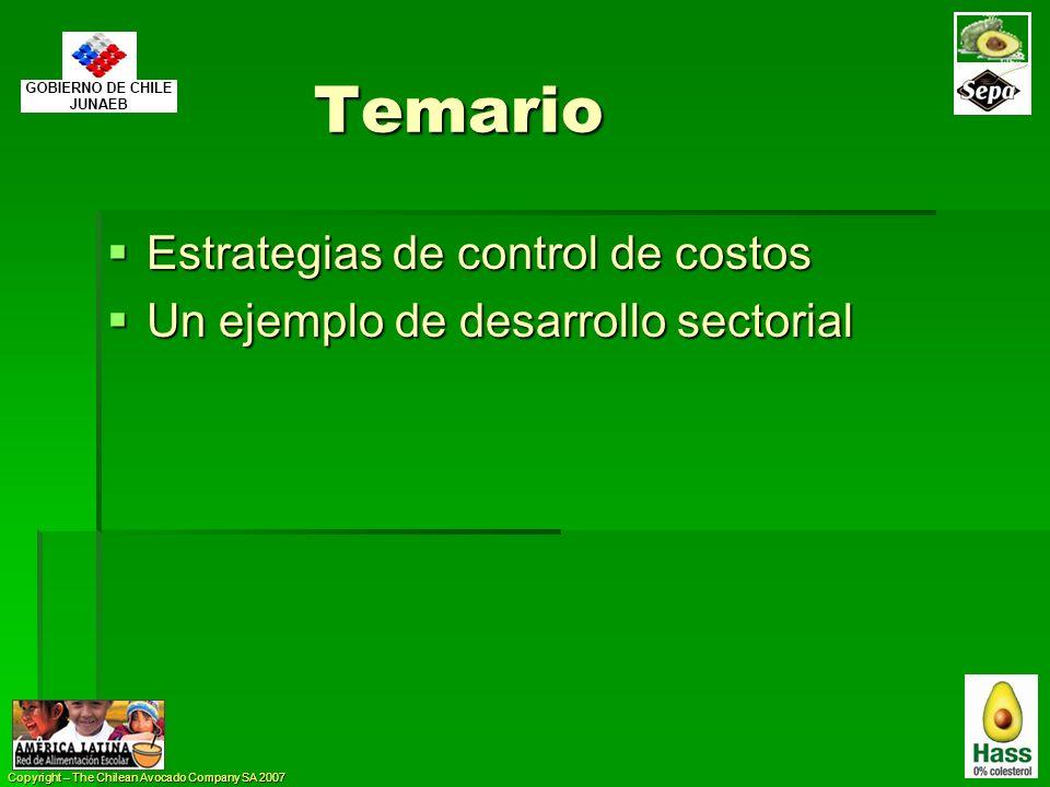 Copyright – The Chilean Avocado Company SA 2007 Temario Estrategias de control de costos Estrategias de control de costos Un ejemplo de desarrollo sec
