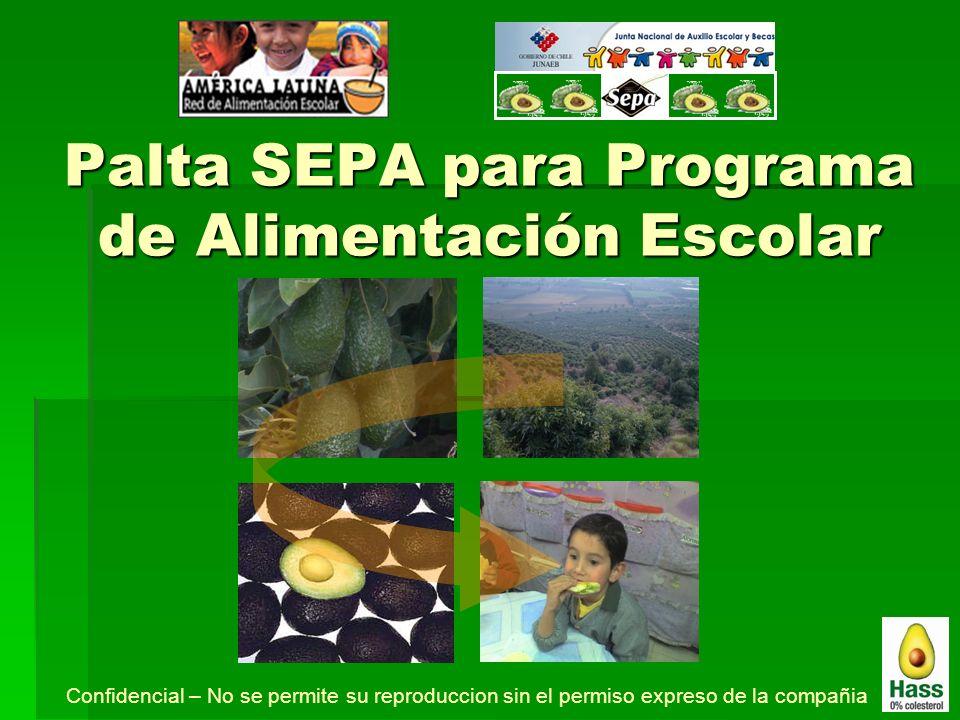 Palta SEPA para Programa de Alimentación Escolar Confidencial – No se permite su reproduccion sin el permiso expreso de la compañia