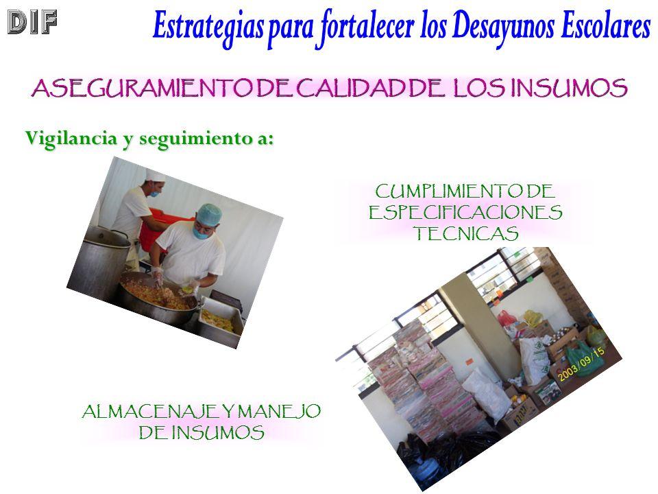 ASEGURAMIENTO DE CALIDAD DE LOS INSUMOS CUMPLIMIENTO DE ESPECIFICACIONES TECNICAS ALMACENAJE Y MANEJO DE INSUMOS Vigilancia y seguimiento a:
