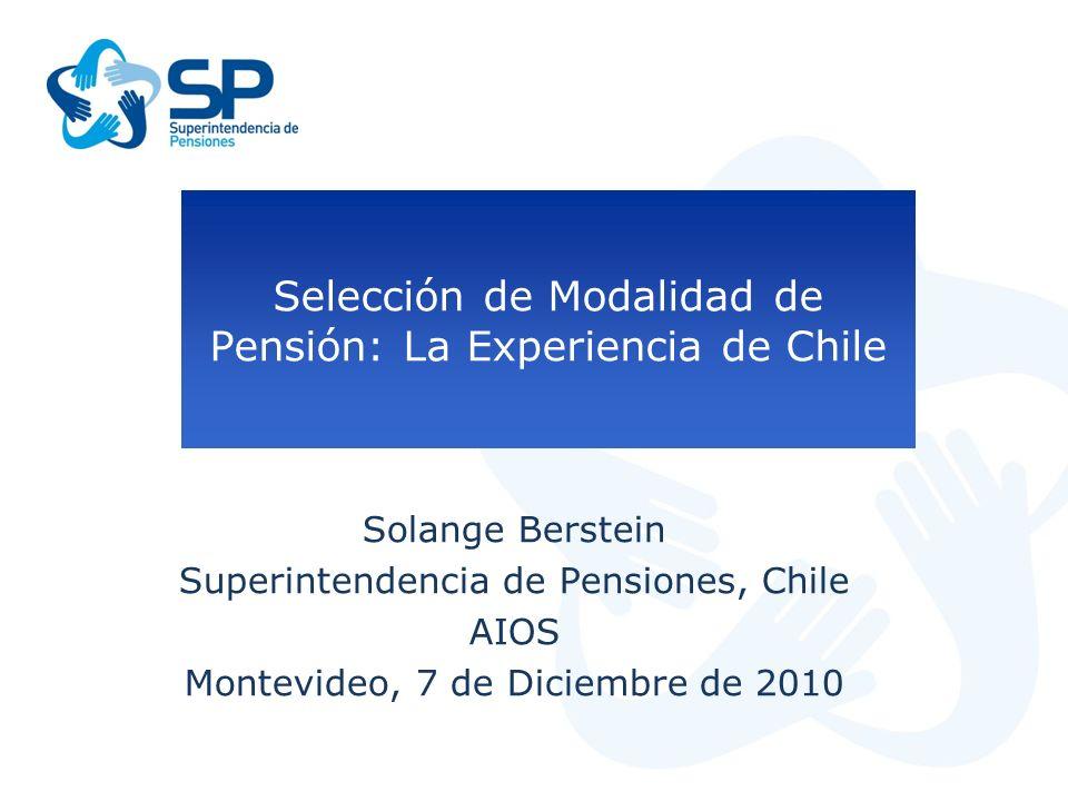 Selección de Modalidad de Pensión: La Experiencia de Chile Solange Berstein Superintendencia de Pensiones, Chile AIOS Montevideo, 7 de Diciembre de 20