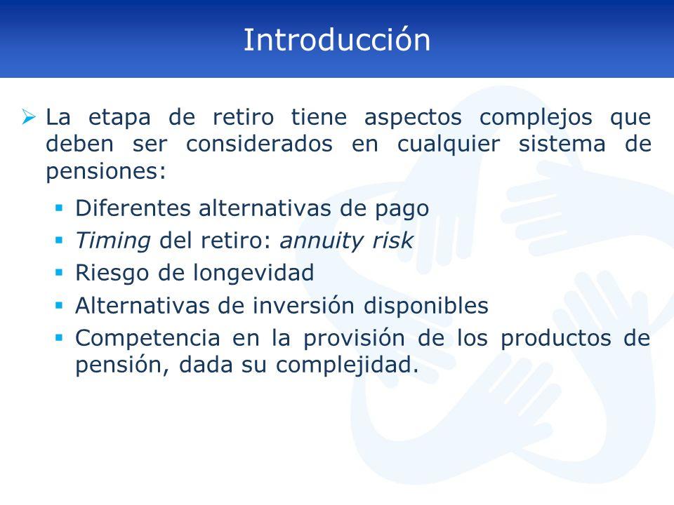 Introducción La etapa de retiro tiene aspectos complejos que deben ser considerados en cualquier sistema de pensiones: Diferentes alternativas de pago