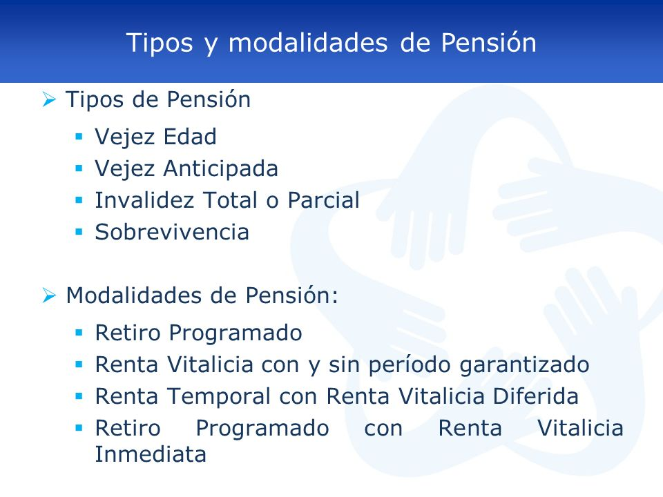 Tipos y modalidades de Pensión Tipos de Pensión Vejez Edad Vejez Anticipada Invalidez Total o Parcial Sobrevivencia Modalidades de Pensión: Retiro Pro