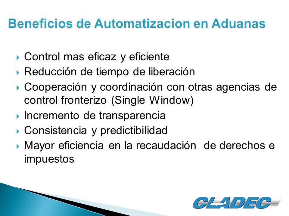 Control mas eficaz y eficiente Reducción de tiempo de liberación Cooperación y coordinación con otras agencias de control fronterizo (Single Window) I