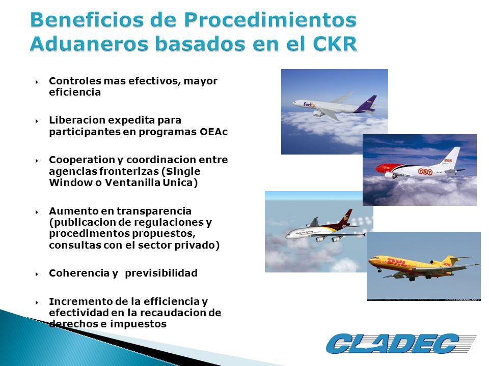 Controles mas efectivos, mayor eficiencia Liberacion expedita para participantes en programas OEAc Cooperation y coordinacion entre agencias fronteriz