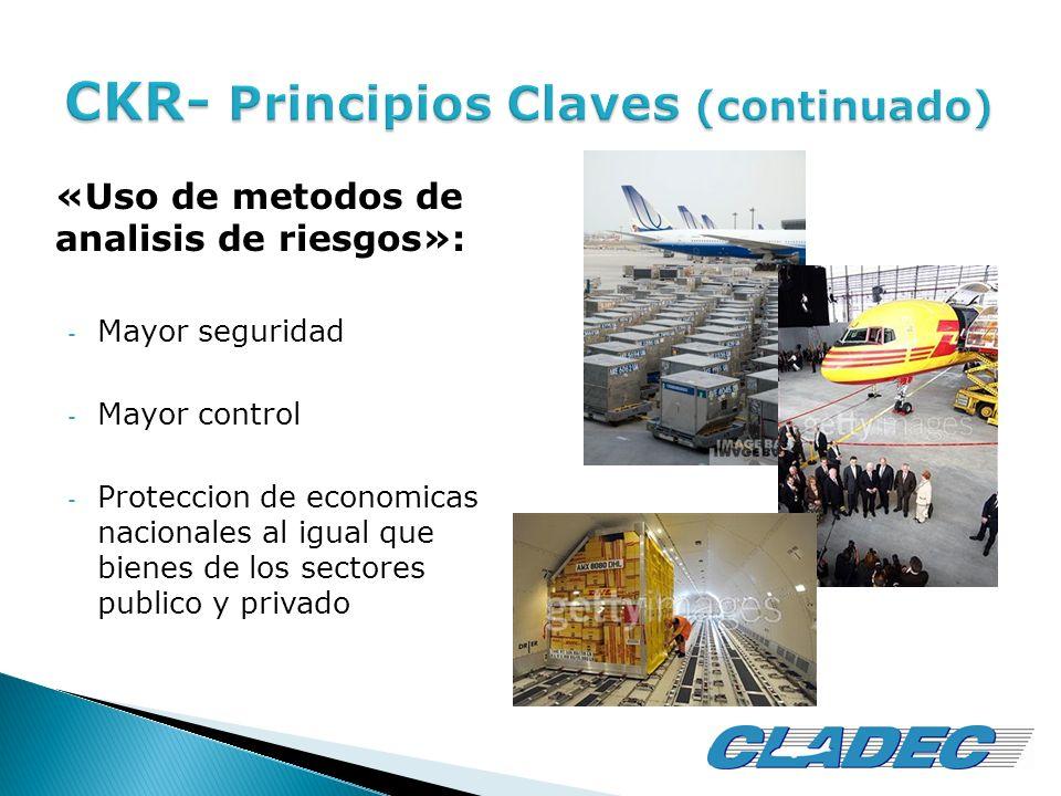 «Uso de metodos de analisis de riesgos»: - Mayor seguridad - Mayor control - Proteccion de economicas nacionales al igual que bienes de los sectores p