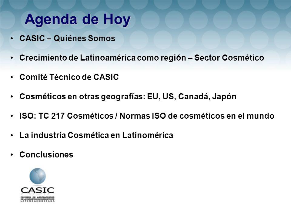 Agenda de Hoy CASIC – Quiénes Somos Crecimiento de Latinoamérica como región – Sector Cosmético Comité Técnico de CASIC Cosméticos en otras geografías: EU, US, Canadá, Japón ISO: TC 217 Cosméticos / Normas ISO de cosméticos en el mundo La industria Cosmética en Latinomérica Conclusiones