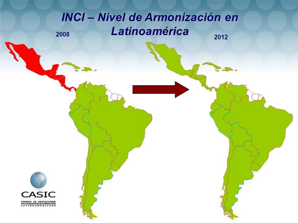 2008 2012 INCI – Nivel de Armonización en Latinoamérica