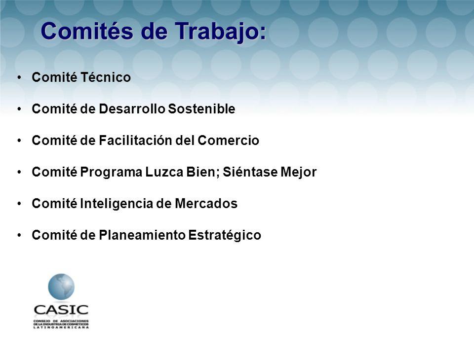 Comités de Trabajo: Comité Técnico Comité de Desarrollo Sostenible Comité de Facilitación del Comercio Comité Programa Luzca Bien; Siéntase Mejor Comité Inteligencia de Mercados Comité de Planeamiento Estratégico