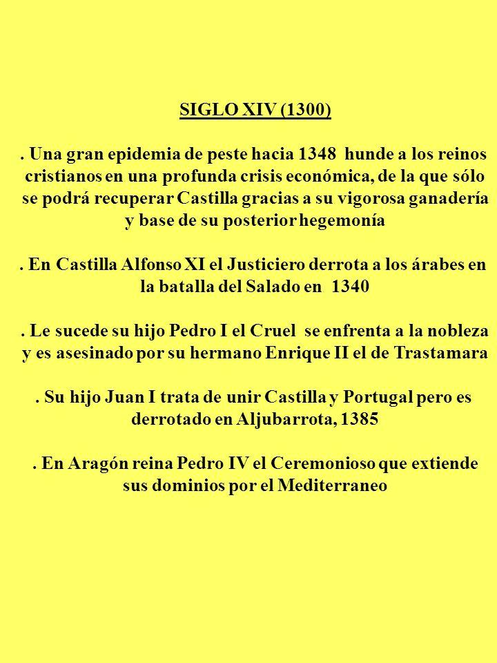 SIGLO XIV (1300). Una gran epidemia de peste hacia 1348 hunde a los reinos cristianos en una profunda crisis económica, de la que sólo se podrá recupe