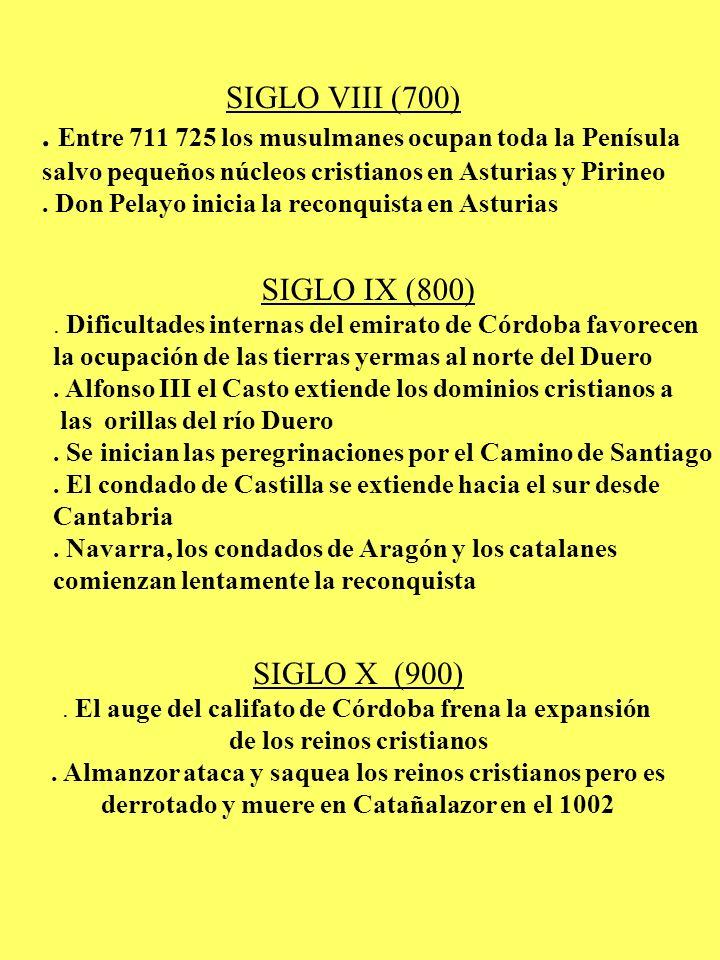SIGLO VIII (700). Entre 711 725 los musulmanes ocupan toda la Penísula salvo pequeños núcleos cristianos en Asturias y Pirineo. Don Pelayo inicia la r