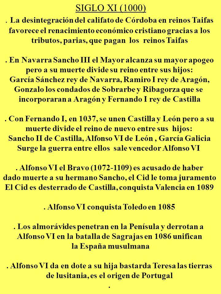 SIGLO XI (1000). La desintegración del califato de Córdoba en reinos Taifas favorece el renacimiento económico cristiano gracias a los tributos, paria