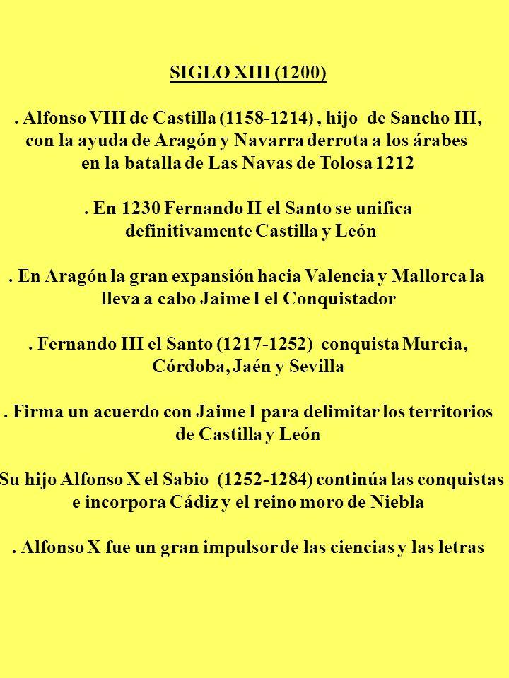 SIGLO XIII (1200). Alfonso VIII de Castilla (1158-1214), hijo de Sancho III, con la ayuda de Aragón y Navarra derrota a los árabes en la batalla de La