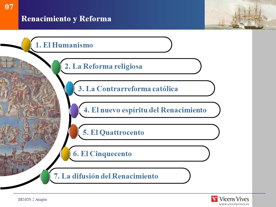 DEMOS 2 Aragón Renacimiento y Reforma 07 1. El Humanismo 2. La Reforma religiosa 3. La Contrarreforma católica 4. El nuevo espíritu del Renacimiento 5
