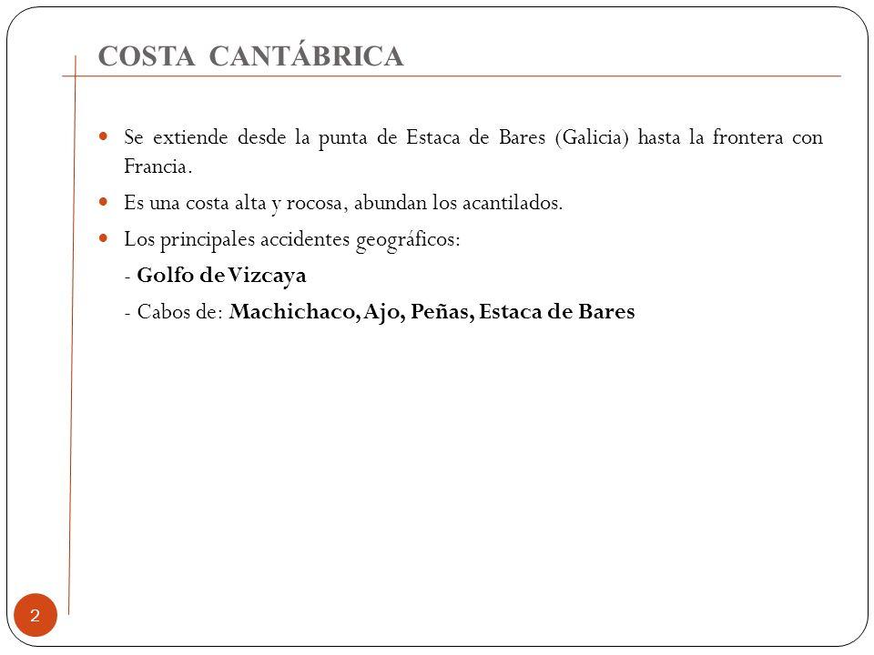 COSTA CANTÁBRICA 2 Se extiende desde la punta de Estaca de Bares (Galicia) hasta la frontera con Francia. Es una costa alta y rocosa, abundan los acan