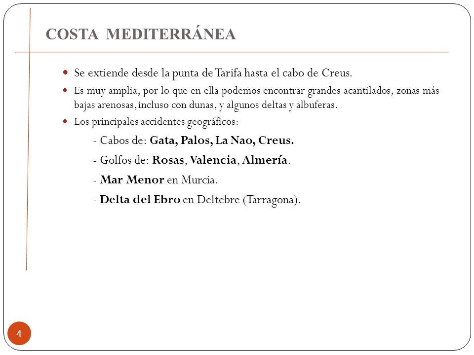 COSTA MEDITERRÁNEA 4 Se extiende desde la punta de Tarifa hasta el cabo de Creus. Es muy amplia, por lo que en ella podemos encontrar grandes acantila