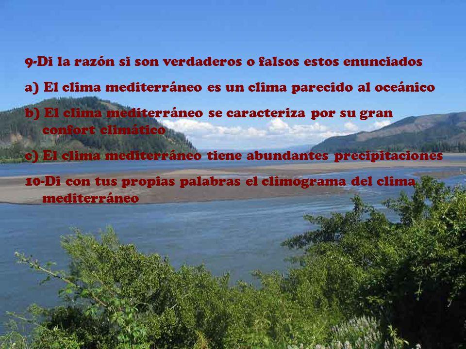 1-Definición de clima mediterráneo 2-¿Cómo son los inviernos? ¿y los veranos? 3-Nombra 5 lugares donde predomine este clima 4-Nombra una característic
