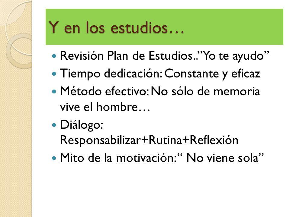 Y en los estudios… Revisión Plan de Estudios..Yo te ayudo Tiempo dedicación: Constante y eficaz Método efectivo: No sólo de memoria vive el hombre… Di