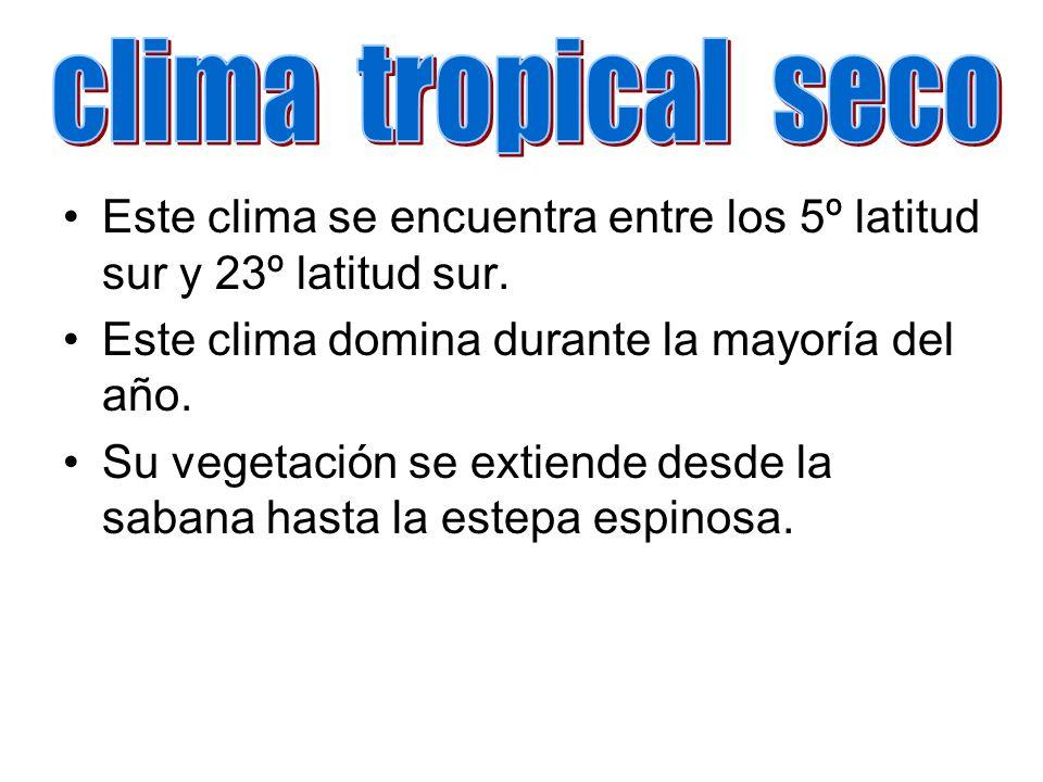 Este clima se encuentra entre los 5º latitud sur y 23º latitud sur. Este clima domina durante la mayoría del año. Su vegetación se extiende desde la s